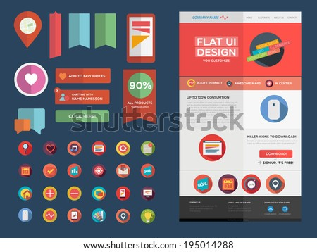 Designers toolkit - Flat UI design - stock vector