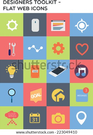 Designers toolkit - Flat web icons - stock vector