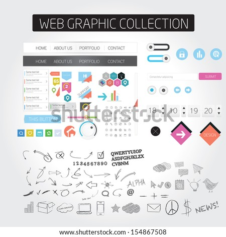 Designers toolkit - Large web graphic collection - stock vector