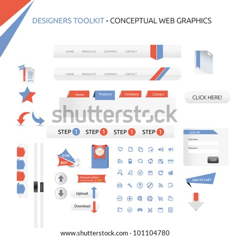 Designers toolkit - web graphics - stock vector