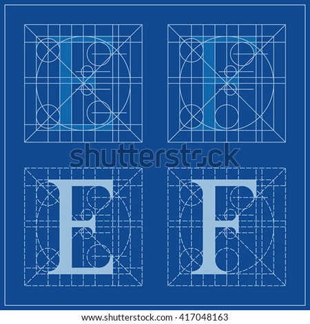 Designing initials letters e f blueprint stock vector 417048163 designing initials letters e and f blueprint malvernweather Gallery