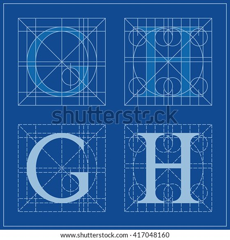 Designing initials letters g h blueprint stock vector 2018 designing initials letters g and h blueprint malvernweather Image collections
