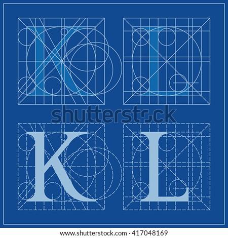 Designing initials letters k l blueprint stock vector 417048169 designing initials letters k and l blueprint malvernweather Gallery