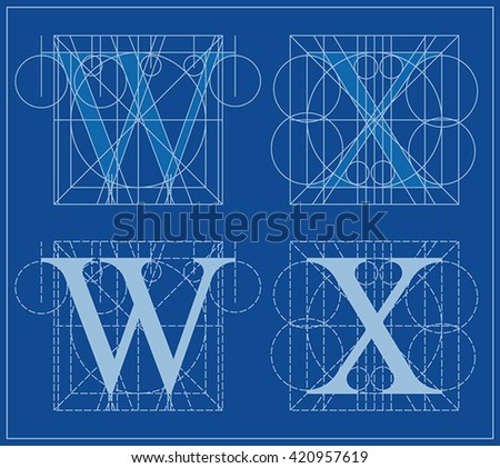 Designing initials letters w x blueprint stock photo photo vector designing initials letters w and x blueprint malvernweather Choice Image