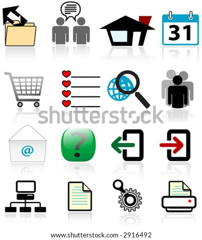 Designs of commonly used web icons-symbols, with reflections.