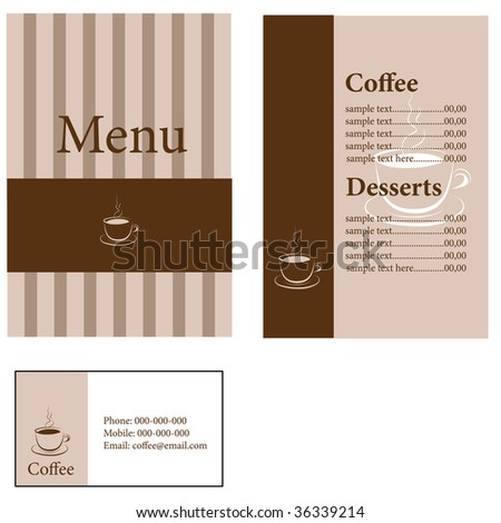 designs of menu and business card for coffee shop and restaurant - stock vector
