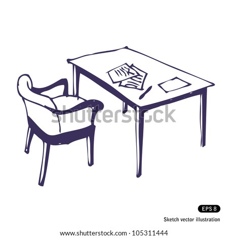 Desk and chair. Hand drawn sketch illustration isolated on white background - stock vector