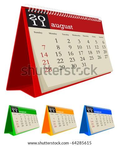 desk calendar 2011-August - stock vector