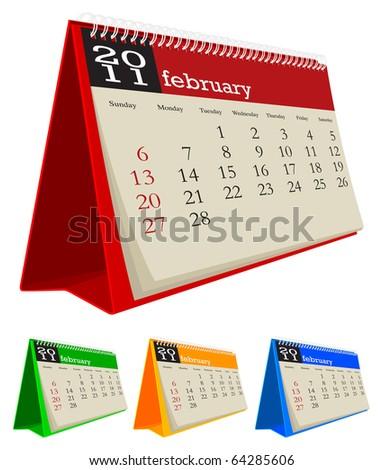 desk calendar 2011-February - stock vector