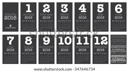 Desk Calendar for 2016, Simple Vector Template, Vector Design Print Template, Set of 12 Months - stock vector