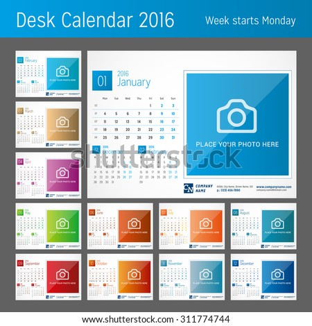 Desk Calendar for 2016 Year. Set of 12 Months. Vector Design Print Template with Place for Photo. Week Starts Monday - stock vector