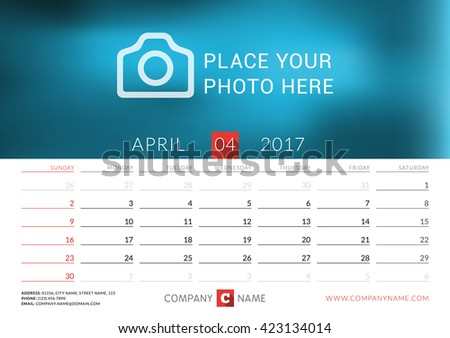 Desk calendar for 2017 year. Vector print template with place for photo. April. Week starts Sunday - stock vector