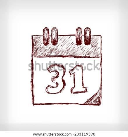 Desk calendar. Hand drawn vector illustration on light grey background - stock vector