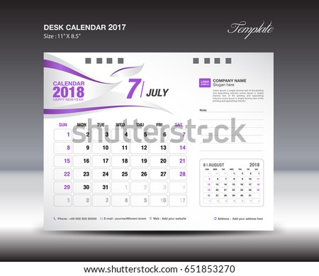 Desk Calendar Template 2018 Year November Stock Vector 651853276