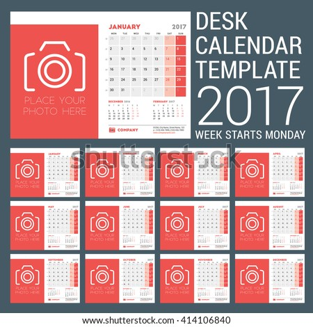 Desk Calendar Template for 2017 Year. 12 Months. Design Template with Place for Photo. 3 Months on Page. Vector Illustration. Week starts Monday. Stationery Design - stock vector