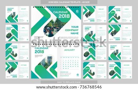 Desk Calendar 2018 Template 12 Months Stock Vector 736768546