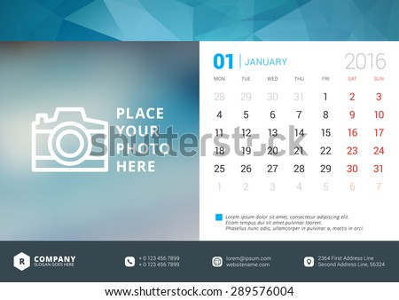 Desk Calendar 2016 Vector Design Template. Week Starts Monday - stock vector