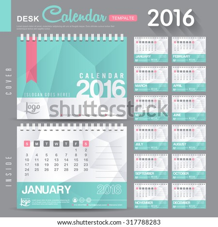 desk calendar 2016 vector design template stock vector 317788283