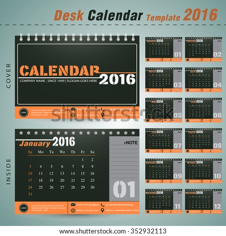 Desk calendar 2016 vector design template with Set of 12 Months Can be used for new year company office business holiday or plan vector illustration