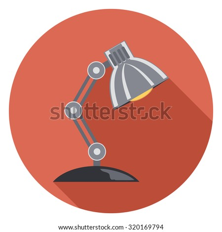 desk lamp flat icon with shadow - stock vector