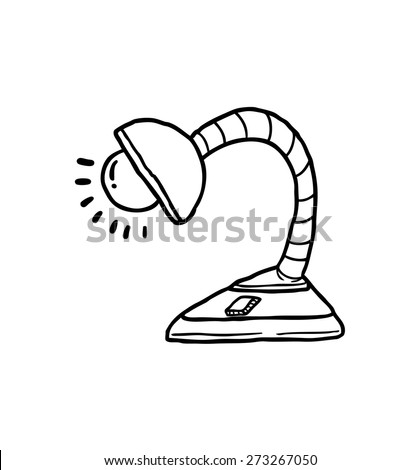desk lamp in doodle style - stock vector
