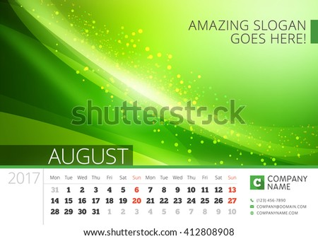 Desk Line Calendar for 2017 Year. Vector Design Print Template with Abstract Background. August. Week Starts Monday
