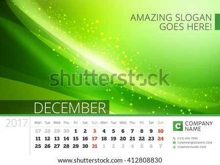 Desk Line Calendar for 2017 Year. Vector Design Print Template with Abstract Background. December. Week Starts Monday