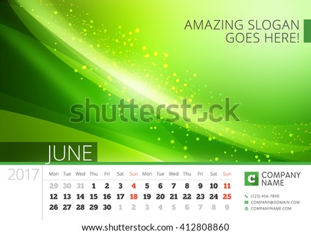 Desk Line Calendar for 2017 Year. Vector Design Print Template with Abstract Background. June. Week Starts Monday