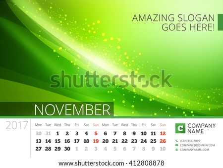 Desk Line Calendar for 2017 Year. Vector Design Print Template with Abstract Background. November. Week Starts Monday