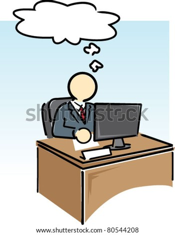Desk Worker with Thought Bubble - stock vector
