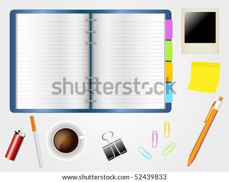 Desktop and diary with coffee cup, cigarette and  office supplies. - stock vector