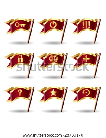 Desktop application computer icons on royal vector flag buttons - good for print, web, or packaging