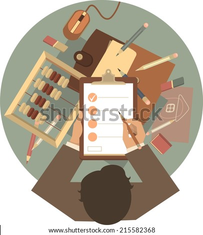 desktop at home or in the office, a top view of a businessman in a round emblem - stock vector