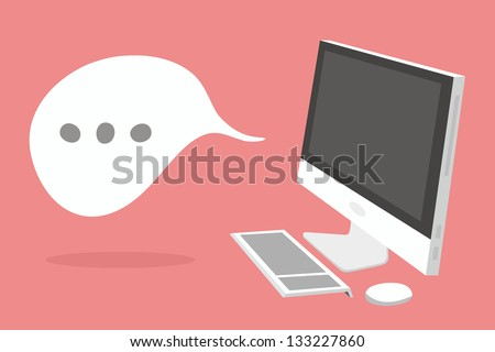 desktop computer - stock vector