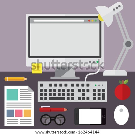 Desktop computer and desk objects - stock vector
