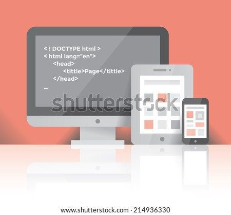 Desktop computer, internet tablet and mobile phone with programming code on screen. Idea - Internet technologies and Web design, Page construction, Cross-platform programming toolkits and environments - stock vector
