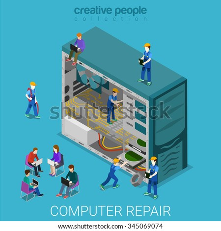 Desktop computer repair service flat 3d isometry isometric concept web vector illustration. Micro serviceman inside case repairing components. Creative people collection. - stock vector