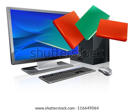 Desktop computer with books flying out of screen. Online education or ebook concept