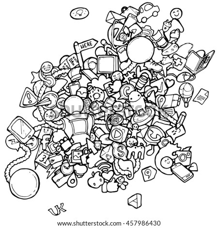 Desktop Icons Doodles Coloring Pages Kids Stock Vector 457986430 ...