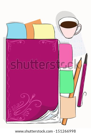 Desktop illustration with the daily log, notes and a cup of coffee, vector - stock vector