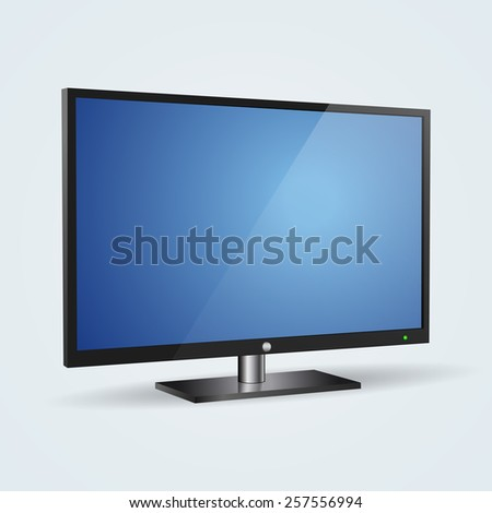 Desktop monitor realistic 3d vector icon - stock vector