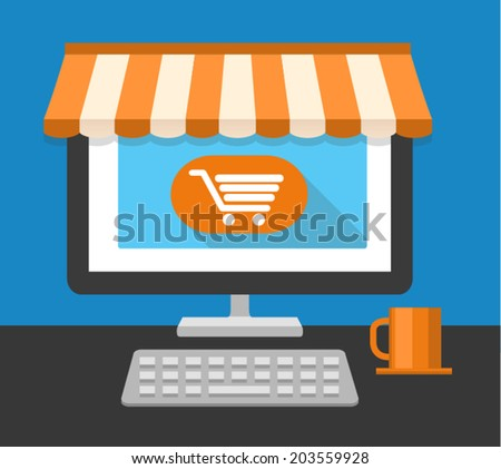 Desktop of computer in flat style. On line shopping. Vector illustration - stock vector