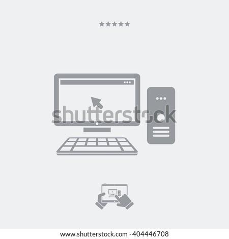Desktop pc - Single isolated icon - stock vector