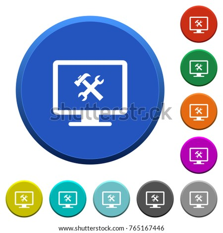 Desktop Tools Round Color Beveled Buttons With Smooth Surfaces And Flat  White Icons