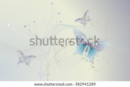 Desktop Wallpaper Background Butterflies Vector Illustration