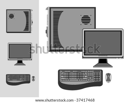 Desktop with case, monitor, keyboard and mouse