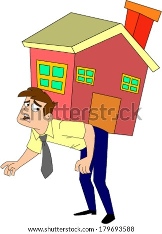 Desperate looking man in shirt and tie carrying a house on his back - stock vector