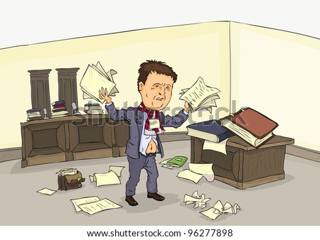 Desperate man in court room with a pile of paper