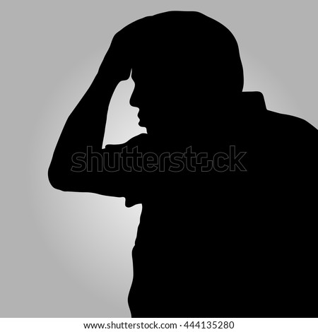 Desperate man in silhouette holding his head on gray background - stock vector