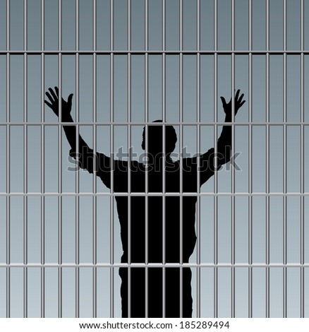 desperate prisoner in jail - stock vector